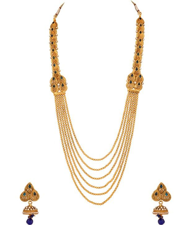 Voylla Gold Plated Long Necklace Set With Bright Blue Stones; Jhumki Earrings