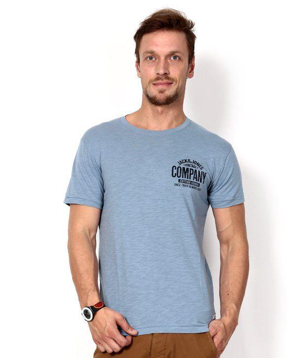 Jack & Jones Blue Half Cotton Round  T-Shirt