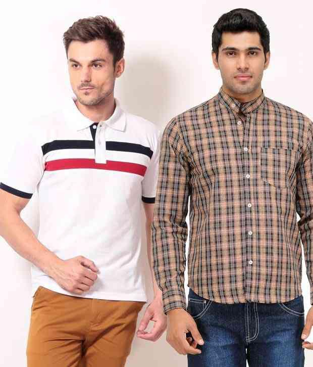 Phoenix Smart Combo Of Beige Shirt & White Polo T Shirt