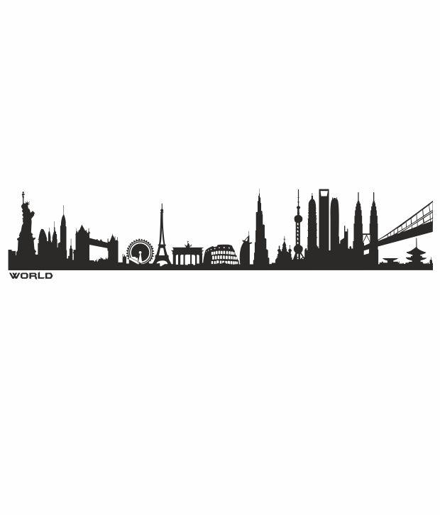 ImposingArtWork World Skyline Silhouette Wall Decals ...