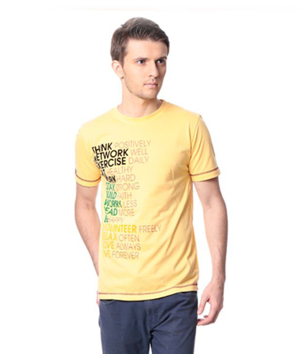 M&W Yellow Half Cotton Round  T-Shirt