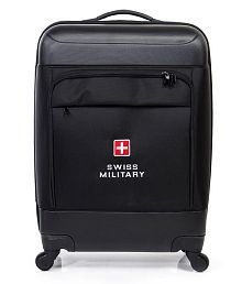 Swiss Military Black Luxury 23 inch Rolling Spinner 4 Wheel Trolley