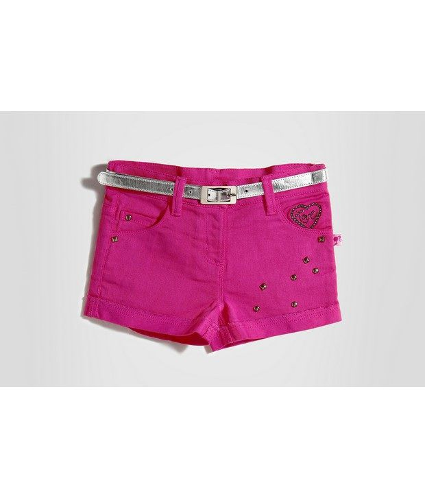 Barbie Pink Color Studs Attached Embroidered Shorts For Infant Girls