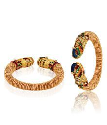 Jewels Galaxy Royal Style Golden Colour Pair Of Peacock Bangles