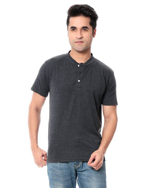Leana Gray Half Cotton Henley T-Shirt