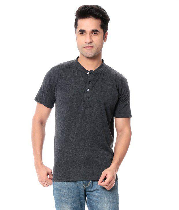 Leana Gray Half Cotton Henley T-Shirt