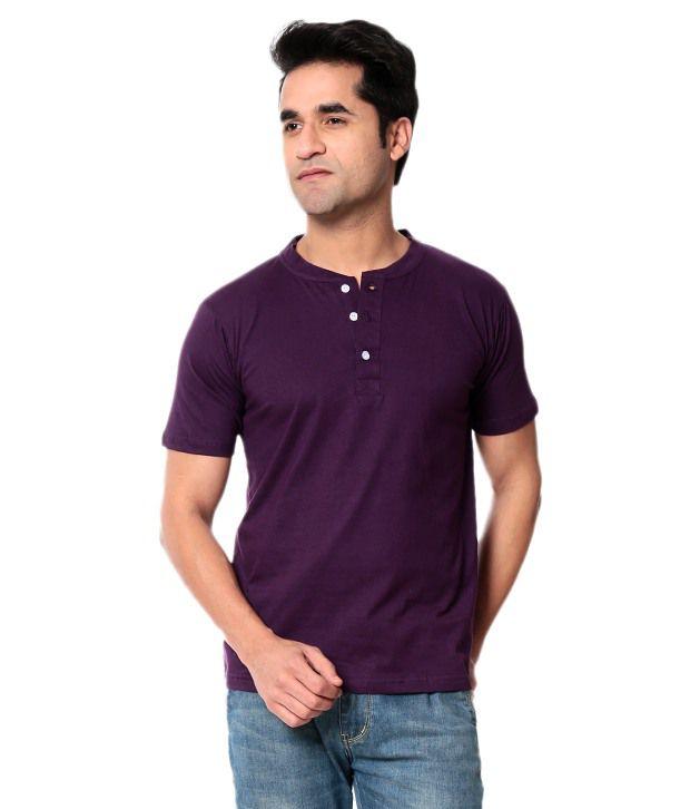 Leana Purple Half Cotton Henley T-Shirt