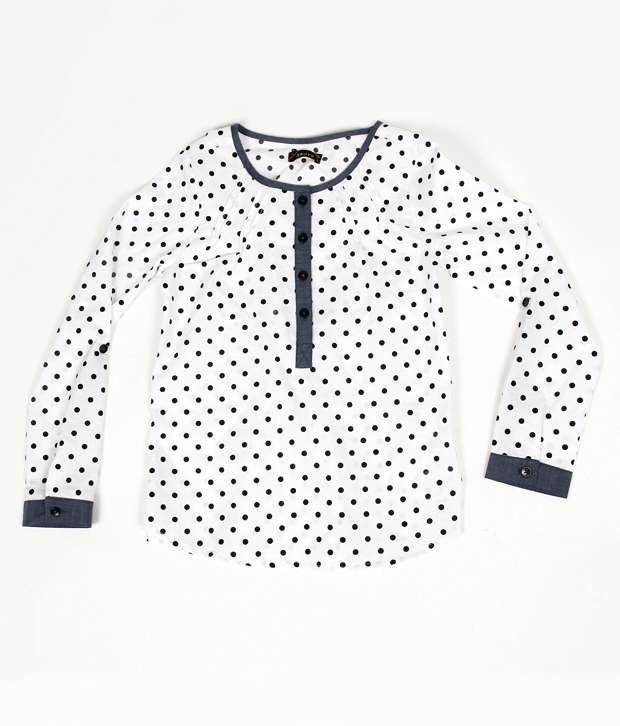 Sbuys Polka Dot Printed Pintuck Full Sleeve Top Infant Girls