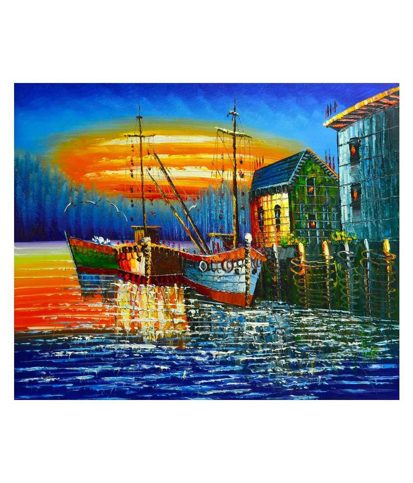 Art Singh Frame- Black, Painting- Blue and Orange Painting- Canvas, Frame- Wood Paintings-Skyline