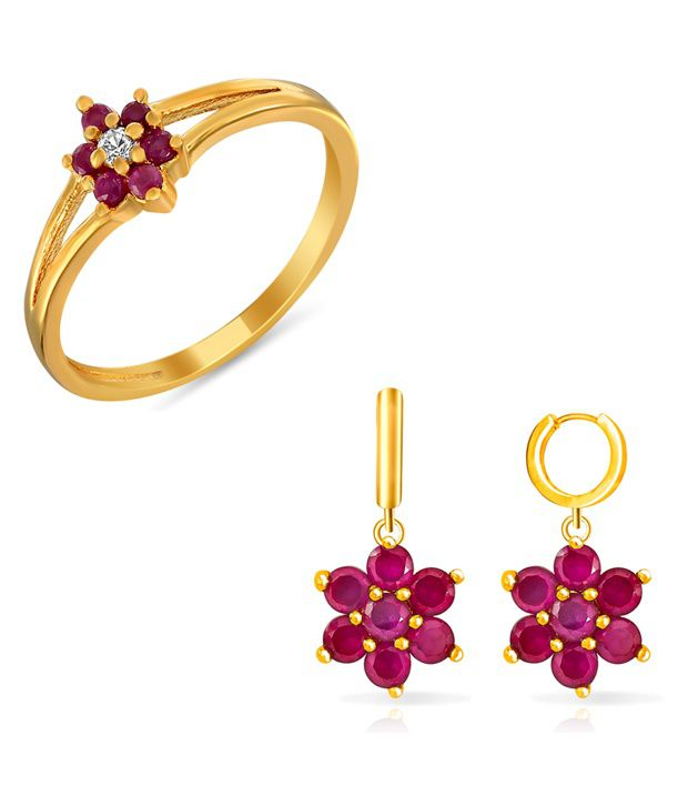 Combo Of Finger Rings and Earring Danglers For Mom Made With Ruby