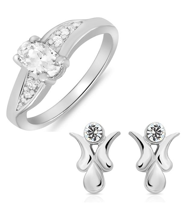 Mahi Rhodium Plated Vibrant Charm combo of stud & ring for women