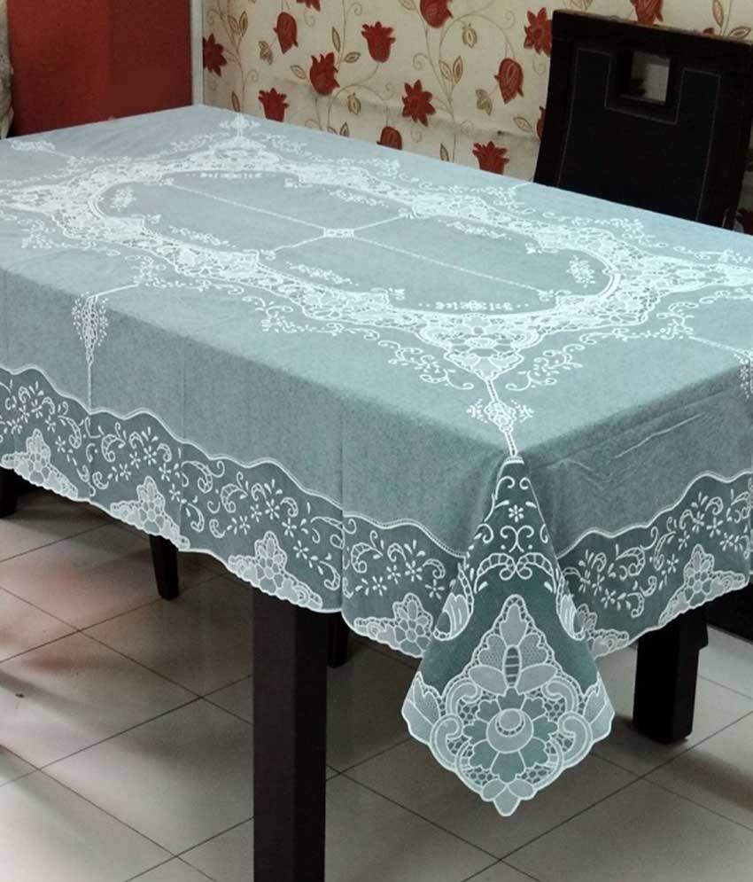 Katwa Clasic - 54 inches x 72 inches Fancy Lace Vinyl Tablecloth (Dark Green)