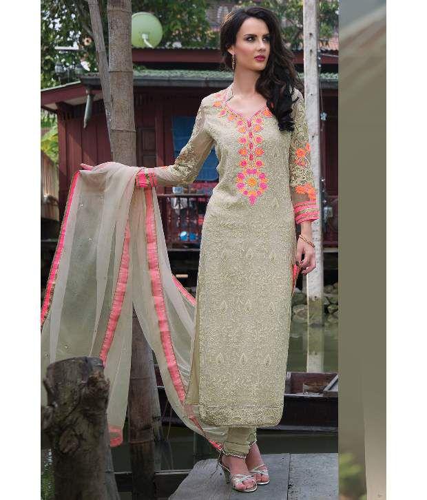 b242b30970cdc ... Chiffon Stitched Straight Fit Salwar Suit - Buy Utsav Fashion White  Embroidered Chiffon Stitched Straight Fit Salwar Suit Online at Low Price  ...