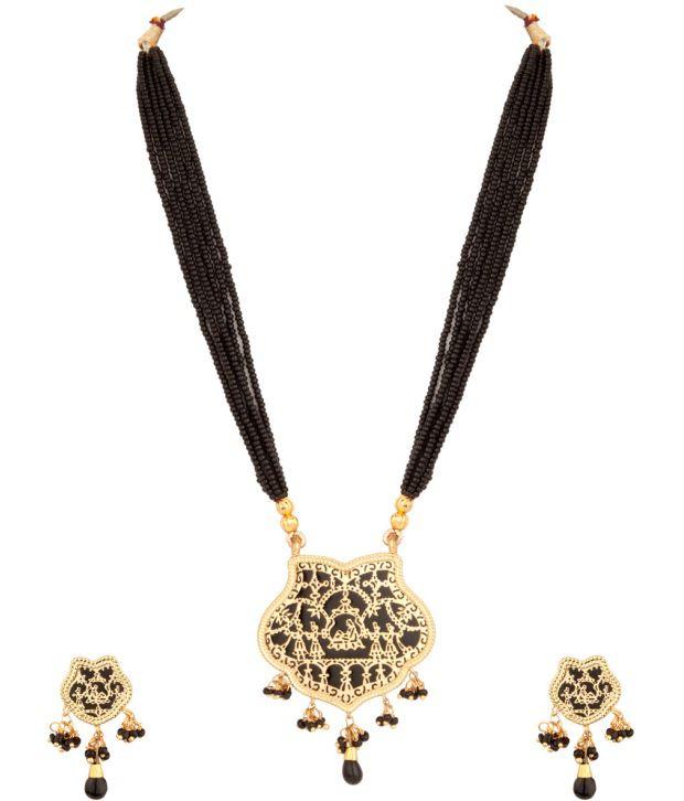 Voylla Striking Traditional Thewa Art;Bead Necklace Set