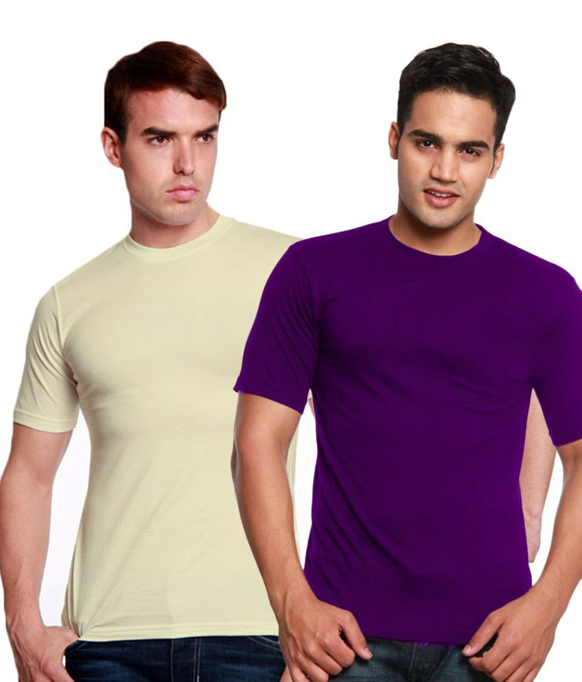 Valtro Purple & Light Yellow Round Neck T-Shirts Pack of 2