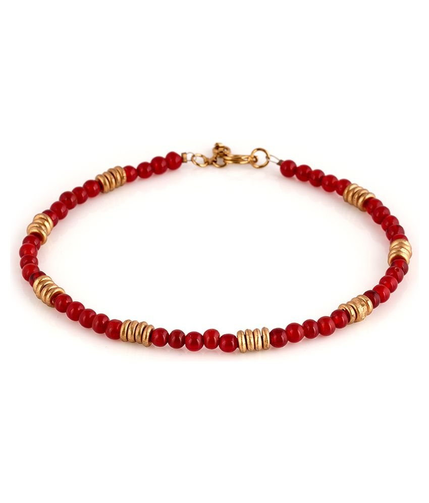 Voylla Fabulous Red And Gold Beaded Anklets Pair