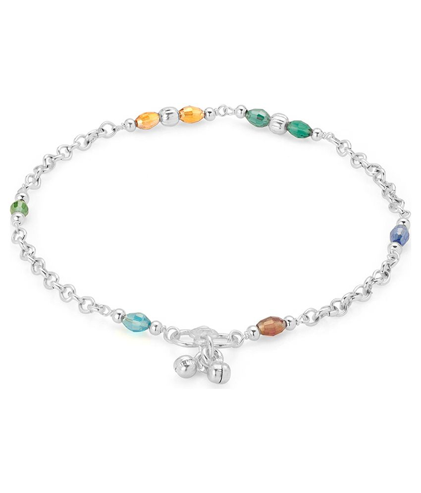 Voylla Glistening Multicolor Crystals; Silver Plated Anklets