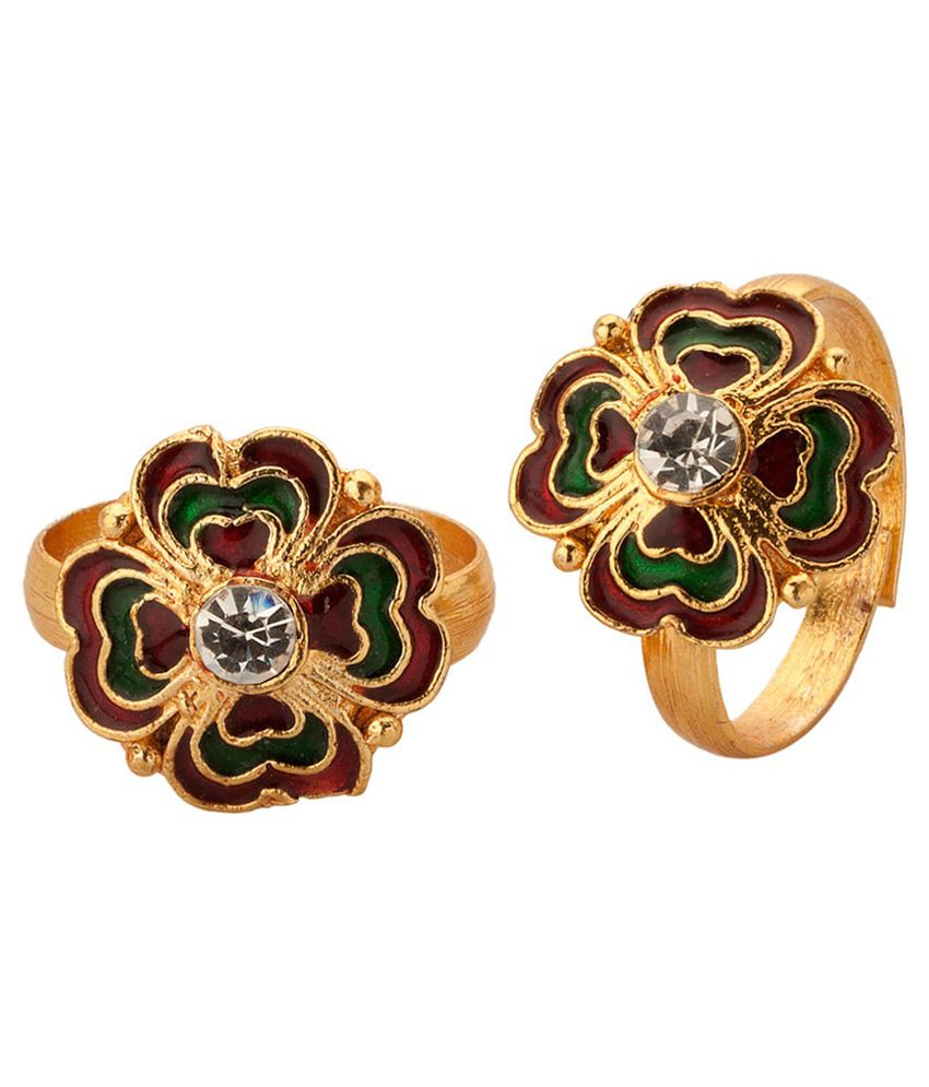 Voylla Gold Plated Floral Toe Rings With Meenakari Work