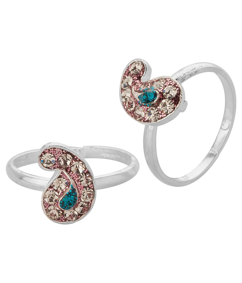 Voylla Paisley Toe Ring Pair With Silver Tone; Twin Color Sparkle