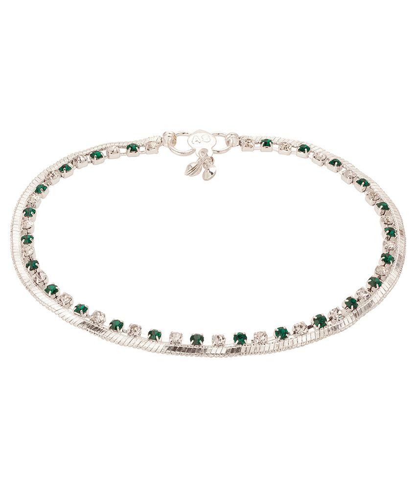 Voylla Silver Tone Smart White Green Stone Anklet Pair