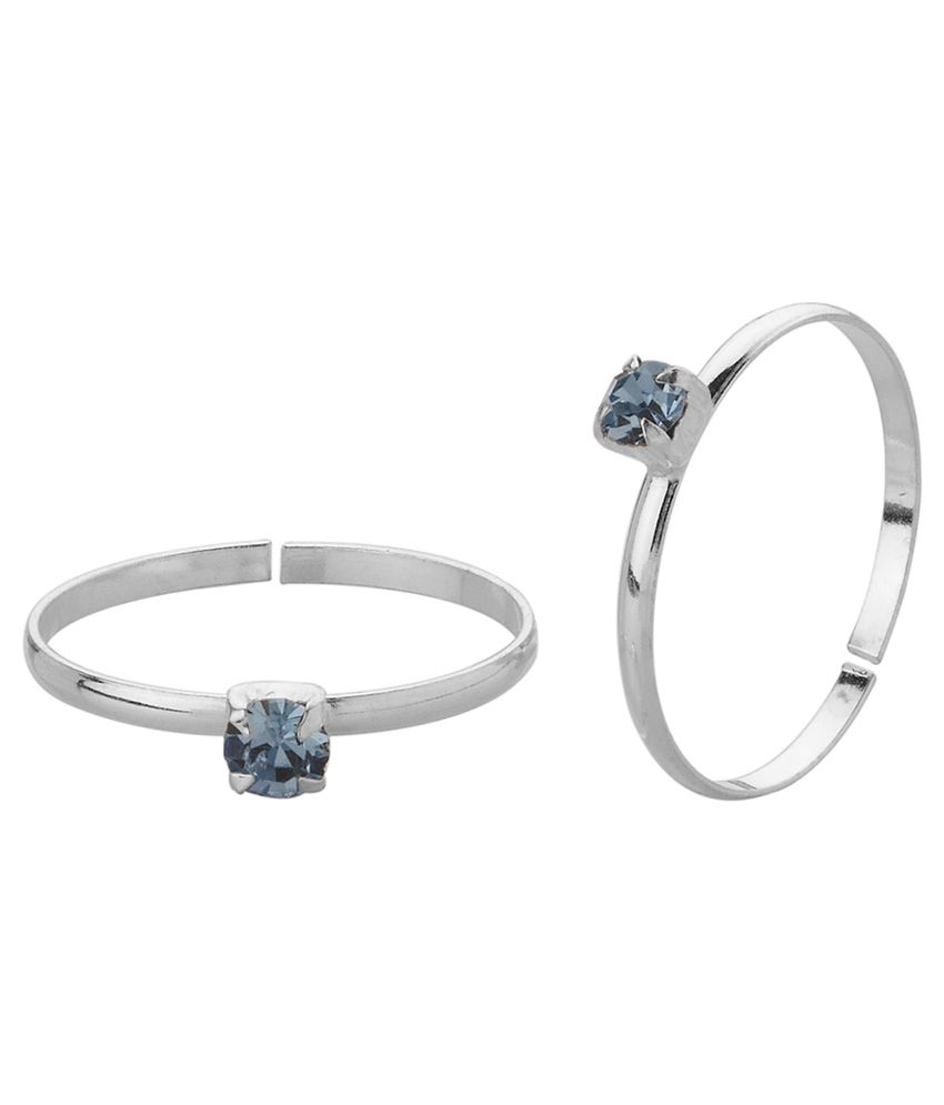 Voylla Toe Rings Encrusted With Blue Stones in Sterling Silver