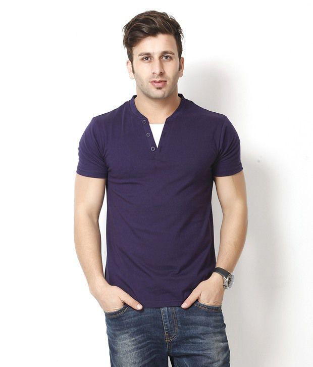 Gritstones Purple Henley Neck Shirt