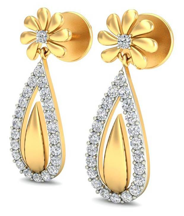 14Kt Hallmark Gold SI/IJ  Certified Diamonds ideal  EARRING By BELLE