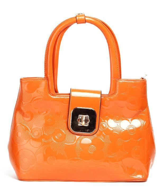 Glorious Orange Patent Shoulder Bag