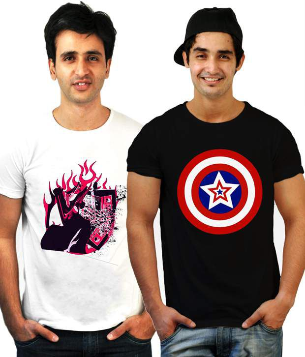 Incynk Combo of 2 Smart White-Black T Shirts