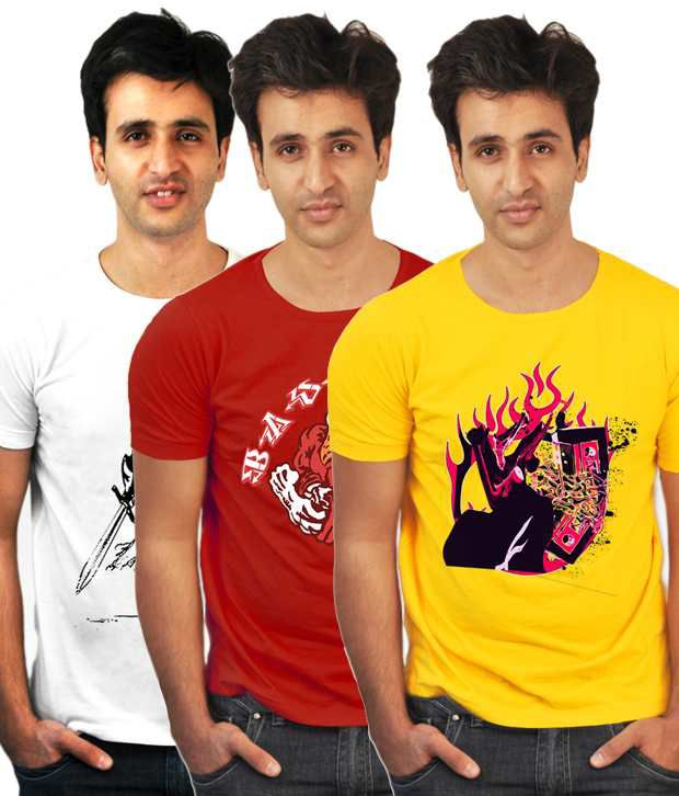 Incynk Pack Of 3 Red-Yellow-White Printed T-Shirts