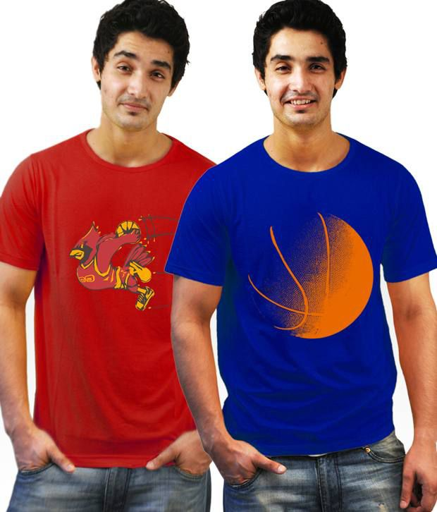 Incynk Red-Blue Pack of 2 Printed T-Shirts