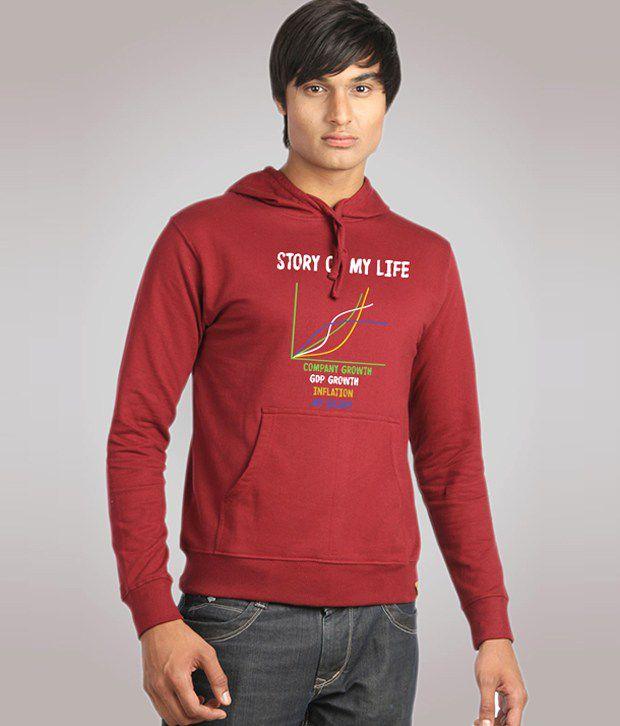 Campus Sutra Maroon Story of My Life Sweatshirt