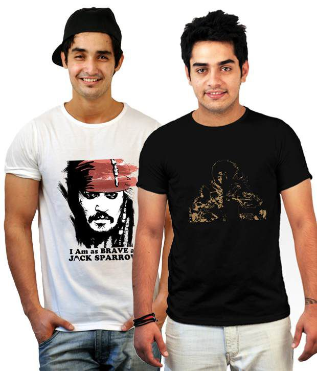 Incynk Combo of 2 Chic White-Black Printed T Shirts