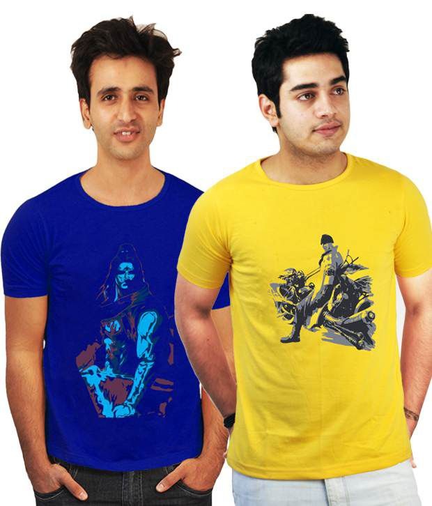 Incynk Pack Of 2 Yellow-Blue Printed T-Shirts