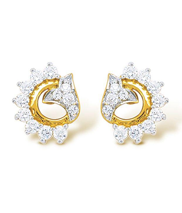 22Kt Hallmarked gold & Swarovski Zirconia   Contemporary Earring By Nishtaa