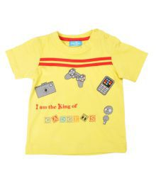 Jus Cubs Gamer Tee Yellow Half Sleeves T-Shirts For Kids