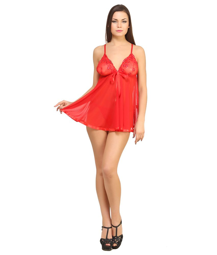 Desiharem Red Synthetic Baby Doll Dresses