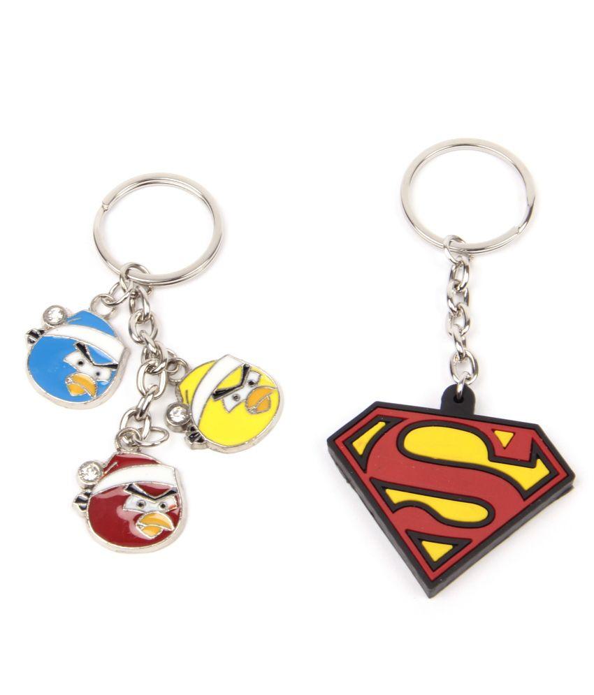 Shellac Superman & Angry Birds 2Pcs Keychain Combo
