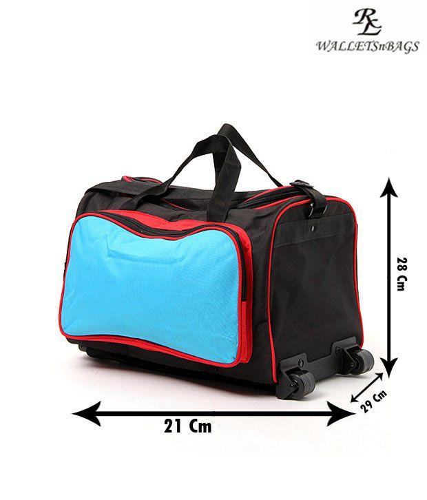 WalletsnBags Cool Blue & Black Trolley Luggage