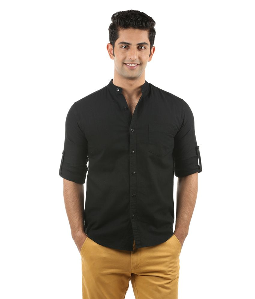 nick jess mens black linen chinese collared casual shirt