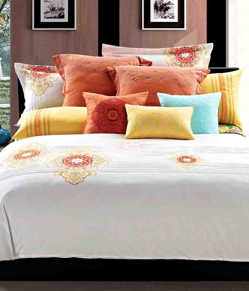 Maishaa White Embroidered Bed Sheet With 2 Pillow Covers ...