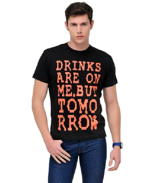 Yepme Cool Black Printed Cotton T Shirt