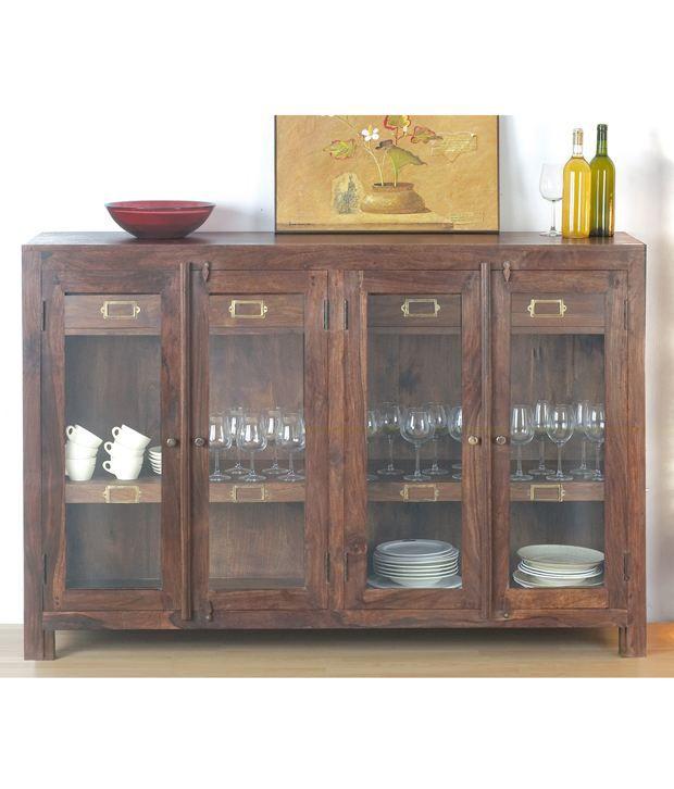 Dezine E Home Urban Living 4 Door 4 Drawer Glass Cabinet