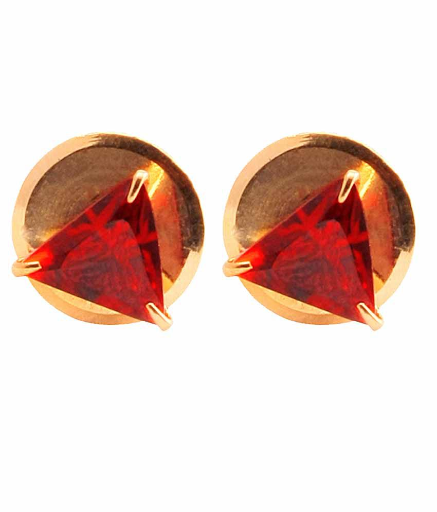 VaRaaGk Triangle Shapped Red 5mm Size Stud For Women