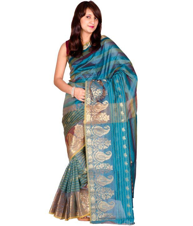 Chandrakala Peacock Blue Pure Banarasi Saree
