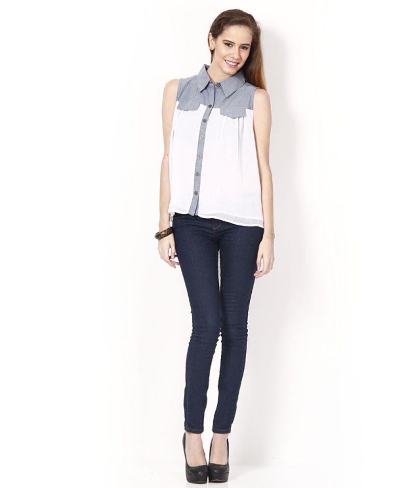 Karishma White-Gray Chiffon Shirt