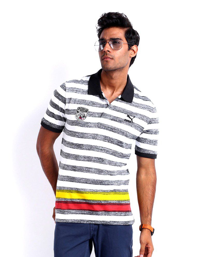 Puma Men Black Melange White Striped Polo T Shirt