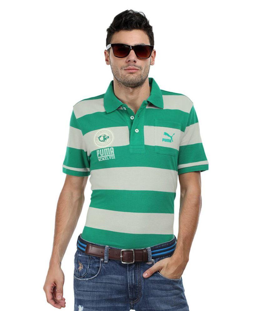 Puma Men Green Beige Rugby Polo T Shirt