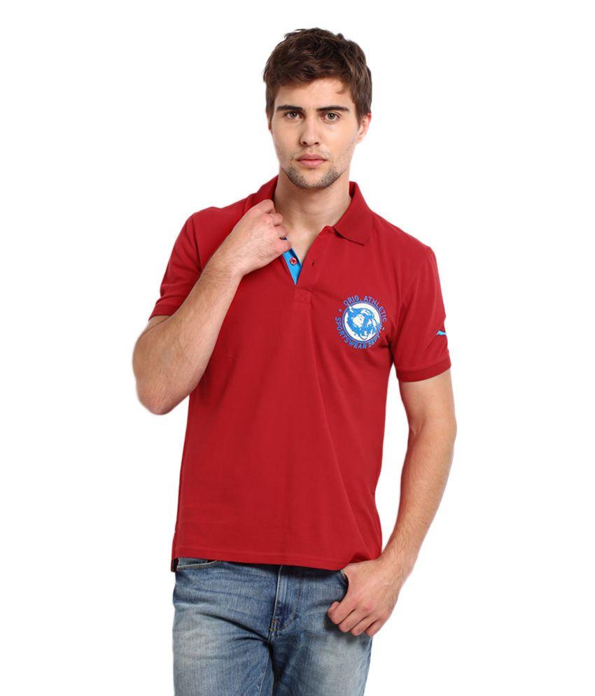 Puma Men Red Social Pique Polo T Shirt