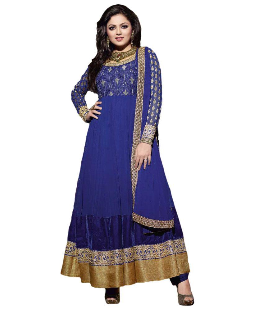 madhubala blue long embroidered anarkali dress material